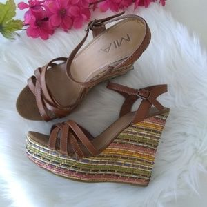 MIA Rainbow Colored Selma Espadrille Wedge Size 8